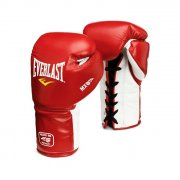 Everlast MX training leather boxing gloves with laces - red